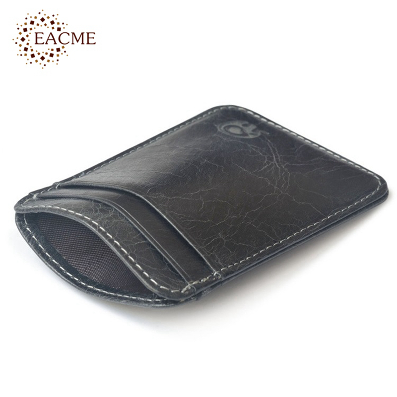 Vintage Genuine Leather Money Clips Thin Mini Wallet Card Case ...