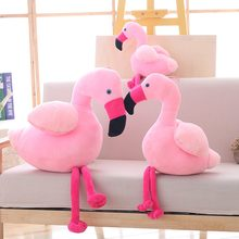 40/55/75 Flamingo Plush Toy Soft Stuffed Cute Animal Flamingo Lovely Dolls for Kids Appease Toy Baby Girl's Room Decoration(China)