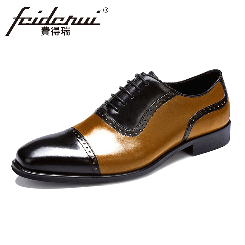 Plus Size Luxury Formal Dress Genuine Leather Men's Oxfords British Round Toe Party Flats Handmade Brogue Shoes For Man ASD94 skp151custom made goodyear 100% genuine leather handmade brogue shoes men s handcraft dress formal shoes large plus size
