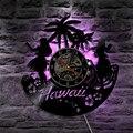 1 шт. Гавайское состояние светодиодные виниловые часы свет изменение цвета настенный светильник дистанционное управление LP Современная по...