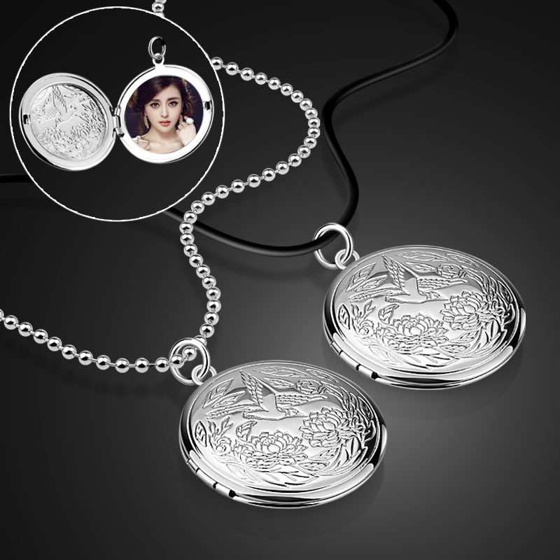 Fashion Women's 925 Silver Necklace Photo Box Pendant Necklace Solid Silver Bead Chain Birthday present Free shipping bijoux