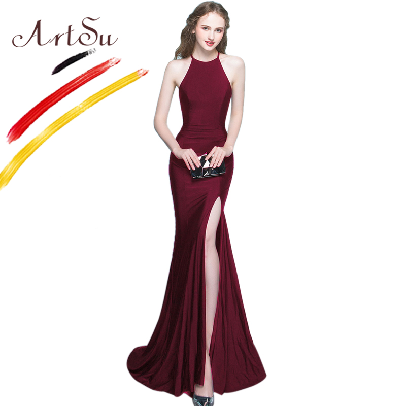 ArtSu Robe De Soiree Black Long Mermaid Party Dress Elegant Halter Wrap Floor Length Maxi Dress Vestidos Sexy Split White Dress