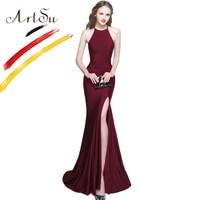 ArtSu Robe De Soiree Black Long Mermaid Party Dress Elegant Halter Wrap Floor Length Maxi Dress Vestidos Sexy Split White Dress