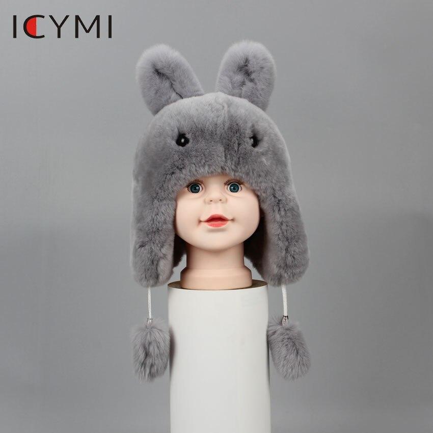 Image 3 - ICYMI New Russian Fur Hat Winter Boys Girls Real Rabbit Hat  Children Earmuffs Warm Fur Bomber Hats With Big Ear Rabbit Fur CapsHats