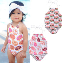 0bab079a7e Kids Baby Girl Halter One Piece Swimsuit Food Printed Backless Belted Swimwear  Bathing Suit Beachwear(