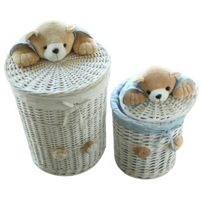 de lavandera cestas de mimbre tejida canasta de con cabeza de oso tapa