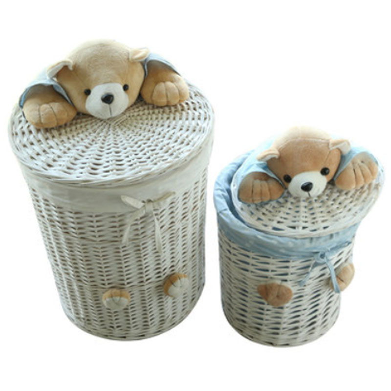 Online Shop Woven Wicker Baskets Round Laundry Hamper Sorter Storage Basket  With Bear Head Lid Small Large Laundry Basket For Clothes Panier |  Aliexpress ...