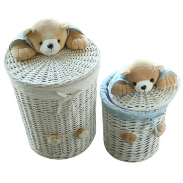 woven wicker baskets round laundry hamper sorter storage basket with bear head lid small large laundry