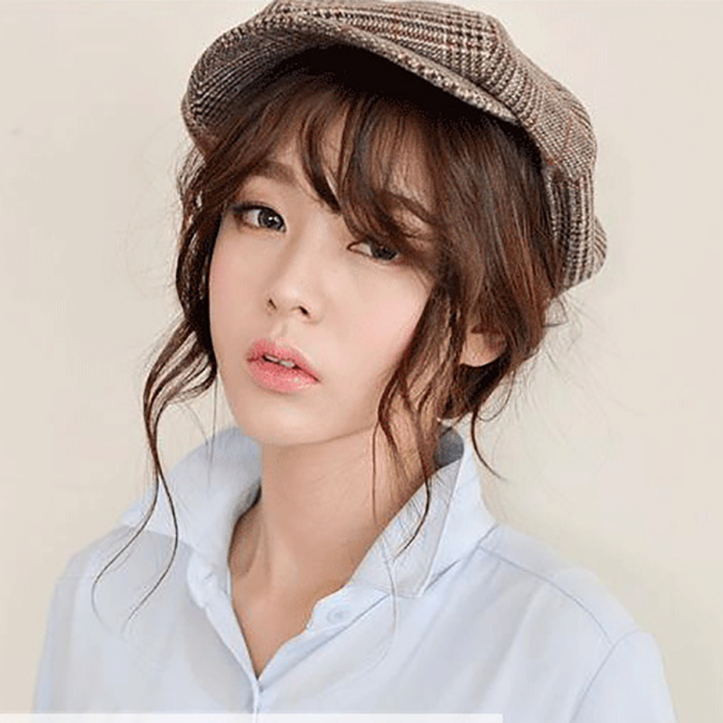Outdoor sports running cap autumn and winter men handsome Plaid beret women new octagonal cap retro British enamel painter hat