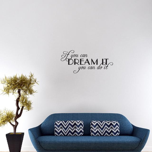 als u kan droom het je kan het quotes en gezegden baby muurstickers slaapkamer art vinyl