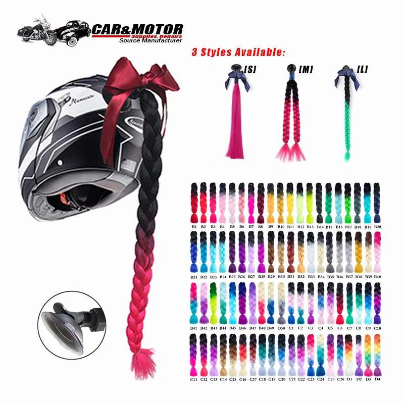 "New Arrival Helmet Braid Motorcycle Motorbike Woman Helmet Braids 24""  With Twist Sucker Dual Pigtail Ponytail Braids For Helmet"