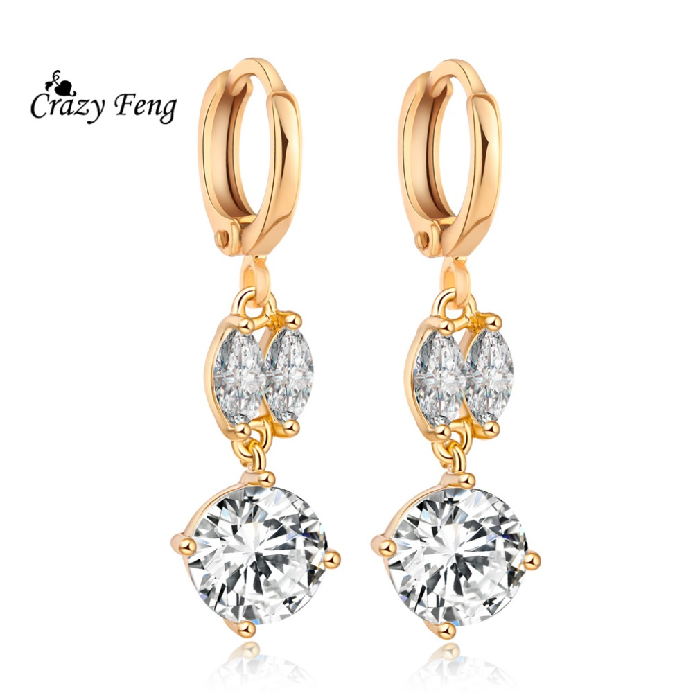 Free Shipping Fashion Zircon Earrings New Stylish Top Quality Gold Color Hoop  Earrings Jewelry Gift For Women Engagement