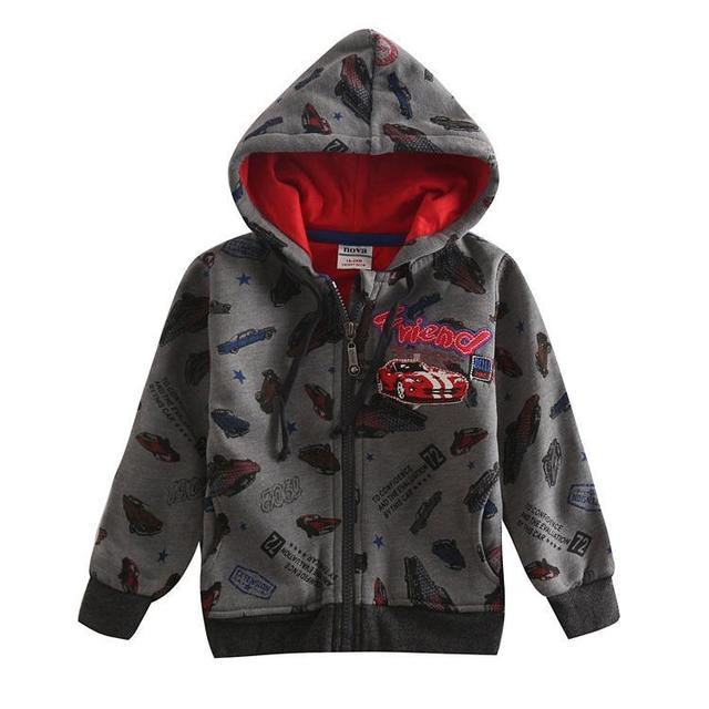 new design charcoal spring/autumn/winter long sleeve boys coat printrd cartoon car warm and high quality boy clothes