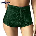 AKM10 colors S-XL women velvet drawstring shorts casual high waist 2017 autumn winter sexy elegant skinny shorts
