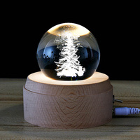 Crystal Ball Night Lights With Base Neidiao 3D LED Night Moon Light Holiday Desk Table Lamps Christmas Tree Elk Milky Way Shaped