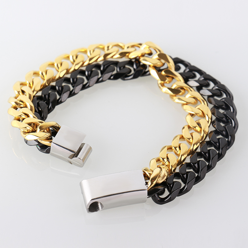 22.5 см цепочка Браслеты 316L Нержавеющаясталь браслет Для мужчин ручная цепь браслет золота черный запястье Титан ювелирные изделия