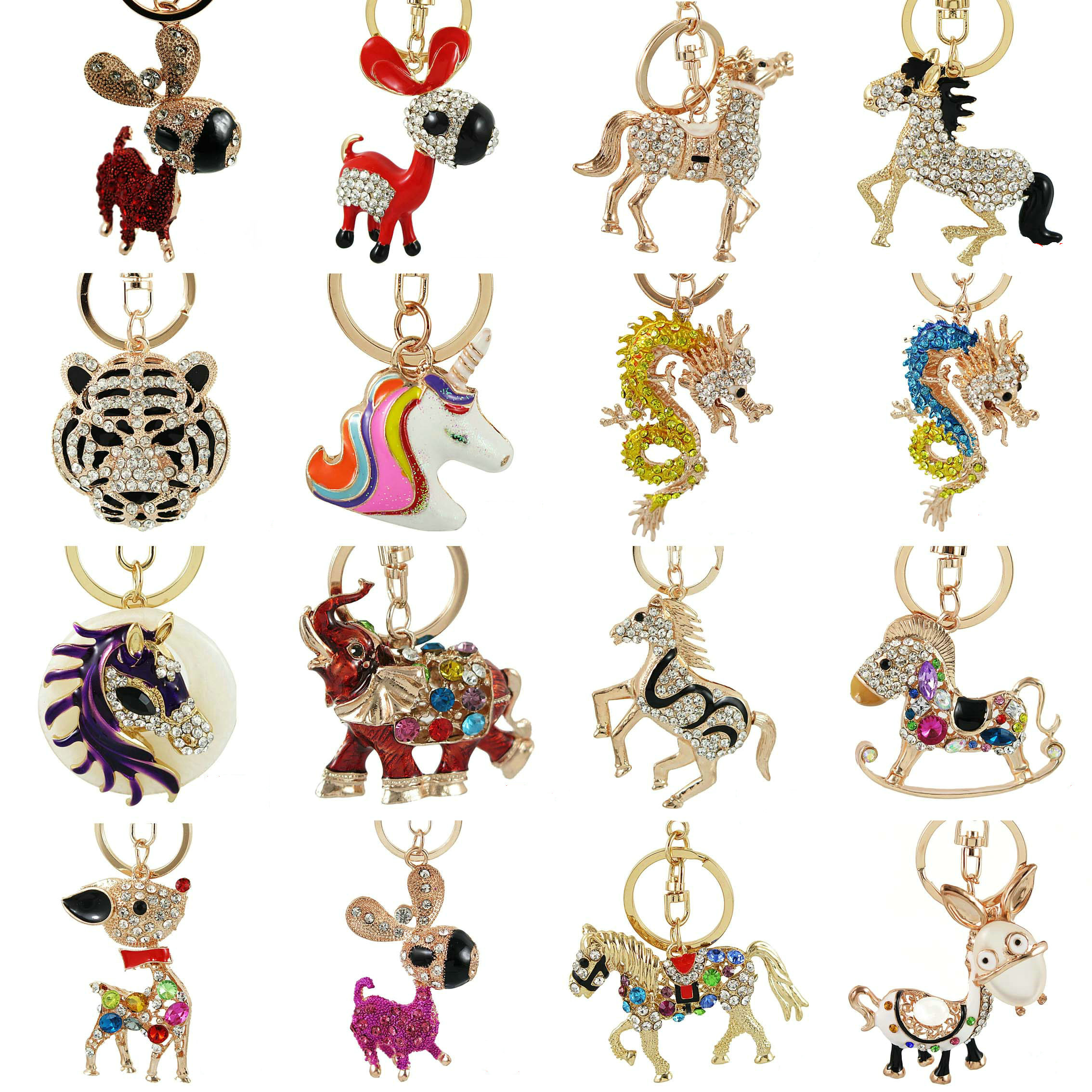 Crystal Horse Dragon Rhinestone Deer Metal Key Chains Holder HandBag Pendant Fashion Keyrings Keychains For Car Best Gift