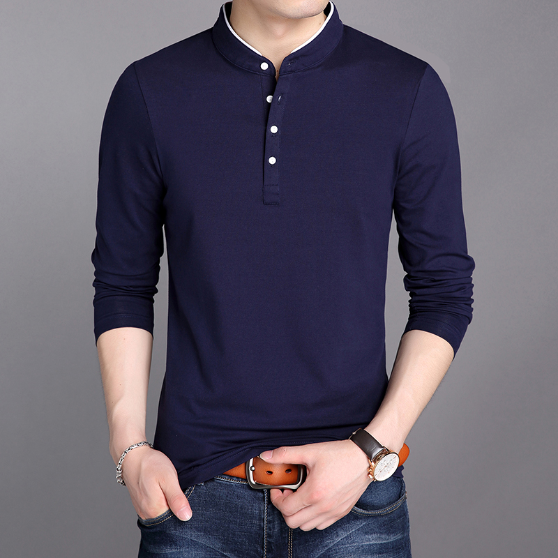 2019 New Fashion Brand   Polos   Men Mercerized Cotton Tops Mandarin Collar Trending High Quality Long Sleeve   Polo   Mens Clothing
