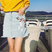 DoreenBow 2017 New Women Fashion Denim Emboridery Flowers Skirts High Quality Summer Party Club Style Beach