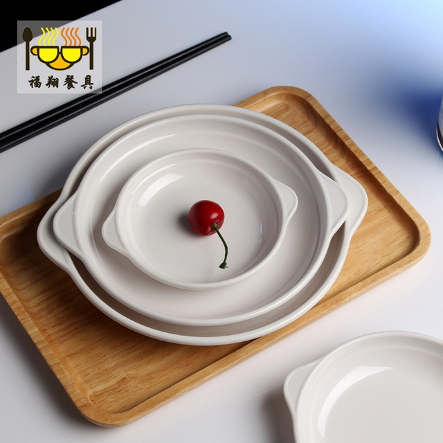 4pcs/lot Plastic Melamine Plates with Ear Pure White Western Food Dish Fast Food Dinner & 4pcs/lot Plastic Melamine Plates with Ear Pure White Western Food ...