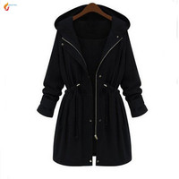 Europ United 2016Autumn Winters Latest Fashion Women Trench Coat Loose Leisure Pure Color Hooded Keep Warm