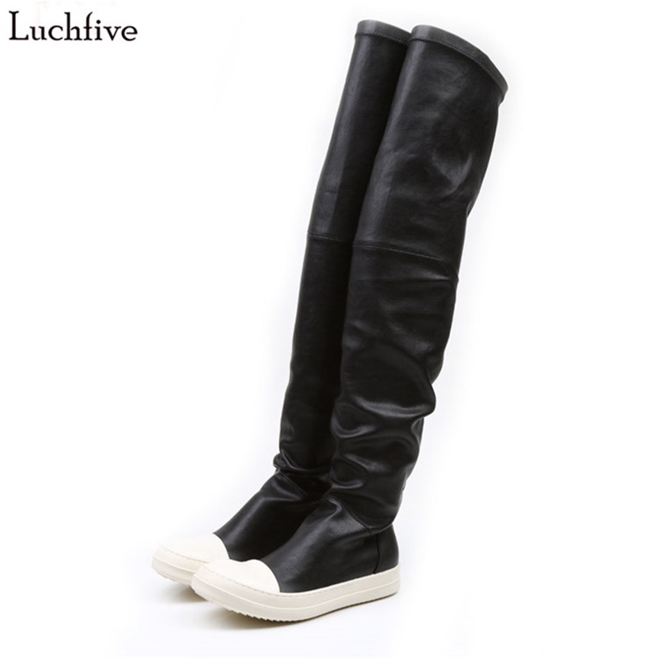 Stretch autumn winter over the knee boots women black grey khaki thick bottom flat platform shoes thigh high boots long boots