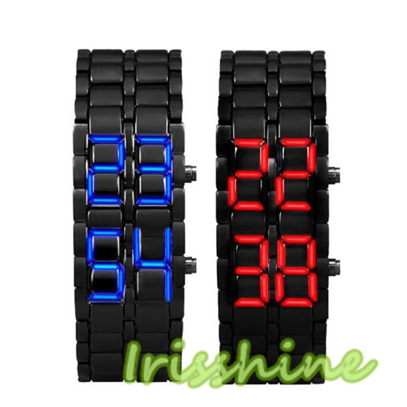 Irisshine 7030 2pcs Lava Style Iron Samurai Black Bracelet LED Japanese Inspired Watch RED BLUE Cool
