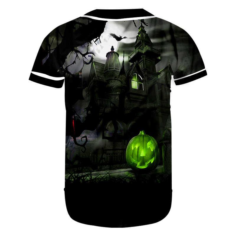 Cjlm Halloween Baru Ukuran Besar Merek Fashion Pria Bisbol Kemeja 3D Dicetak Labu Castle Tshirt Pemasok Pakaian Pria