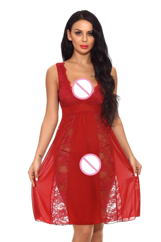 Hot Selling Plus Size Woman Sexy Babydolls Lace Deep V-Neck Nightgown Long Dress Erotic Lingerie Sleepwear Nightwear