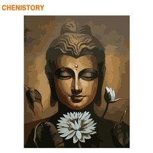 CHENISTORY Frame Lotus Buddha DIY Painting By Numbers Acrylic Paint By Number Handpainted For Home Decor Calligraphy Painting(China)