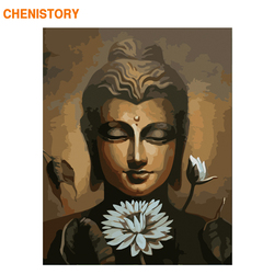 CHENISTORY Frame Lotus Buddha DIY Painting By Numbers Acrylic Paint By Number Handpainted For Home Decor Calligraphy Painting