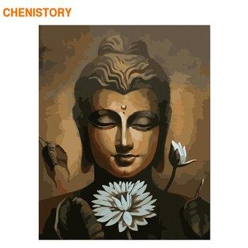 CHENISTORY marco Lotus Buda pintura de DIY por números pintura de acrílico número pintado a mano para la decoración de caligrafía pintura