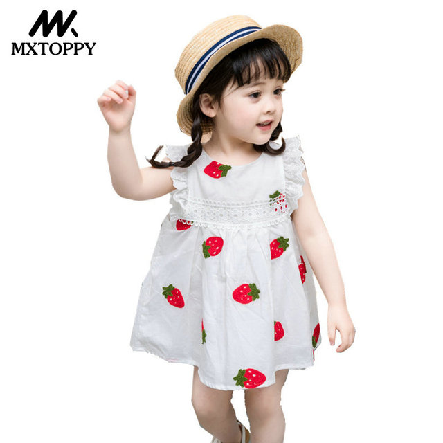 5fb10a73c MXTOPPY Baby Girls Dress Summer Embroidery Flower Strawberry Cotton ...
