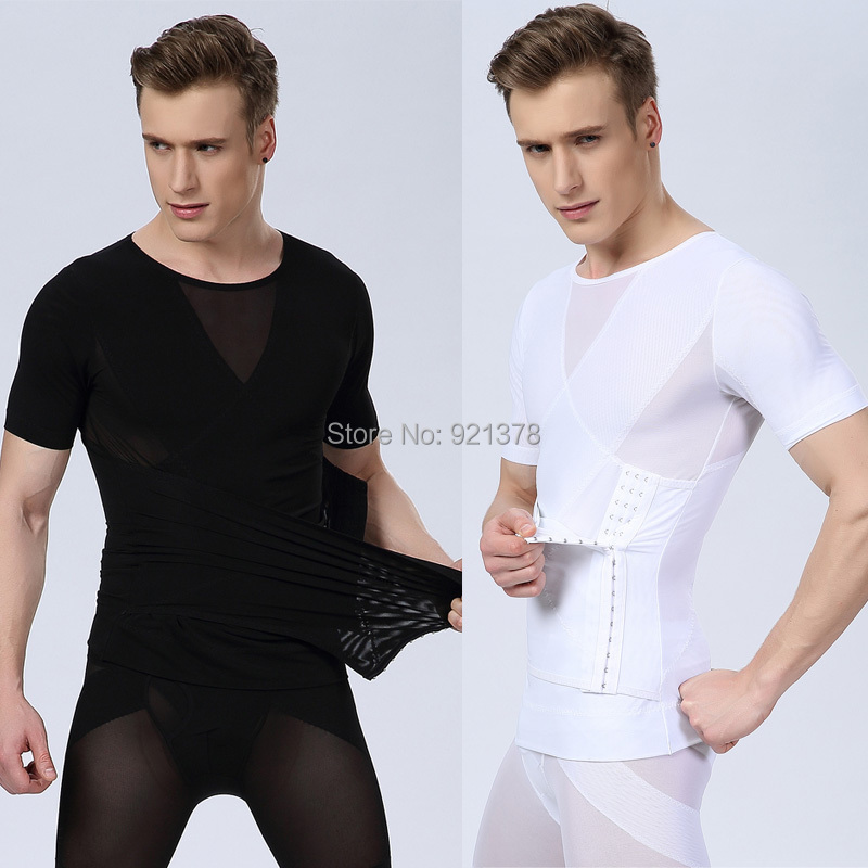 Men's Bodybuilding Compression Shirt Solid Color Men Body Shaper Waist Corsets For Men Cinto Masculino Undershirt Tights