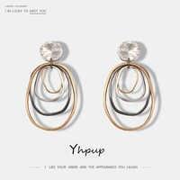 Yhpup nueva moda pendientes de gota simples de aleación de Zinc Irregular Multi círculos moda pendientes colgantes pendientes para mujer de moda 2019