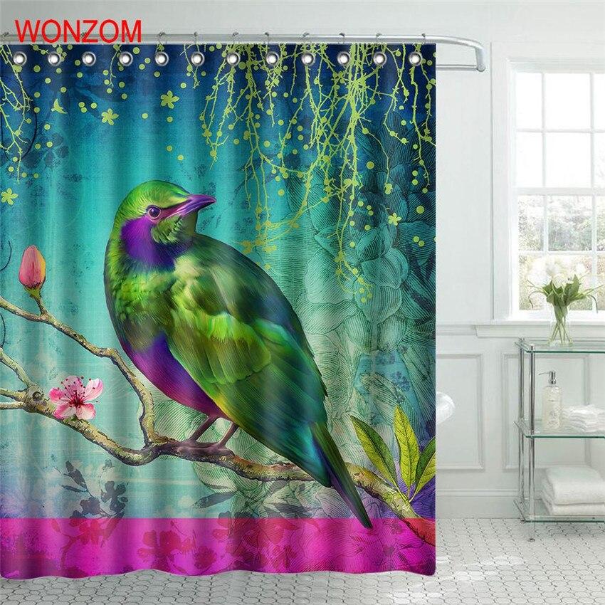 WONZOM 1Pcs Bird Waterproof Shower Curtain Panda Frog Bathroom Decor Animal Decoration Cortina De Bano 2017 Bath Curtain Gift in Shower Curtains from Home Garden