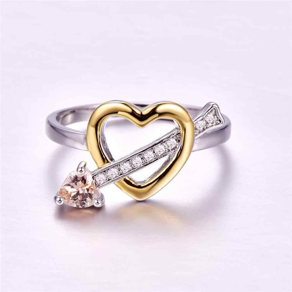 ผู้หญิง 925 เงิน Morganite และหัวใจสีชมพูตัดเครื่องประดับแหวน