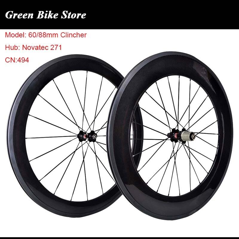 88mm Carbon Wheel Front Wheel Novatec 271 Hub 700C Clincher Road Bike Cycling