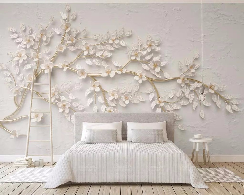 Photo Wallpaper Murals Stereoscopic White Flower 3D Room Wallpaper Modern Fashion Girls Room Living Room Bedroom Wall Murals