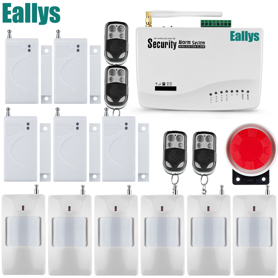 Wireless home security alarm system 900 1800 1900mhz with Door PIR Detector Russian English Voice Security