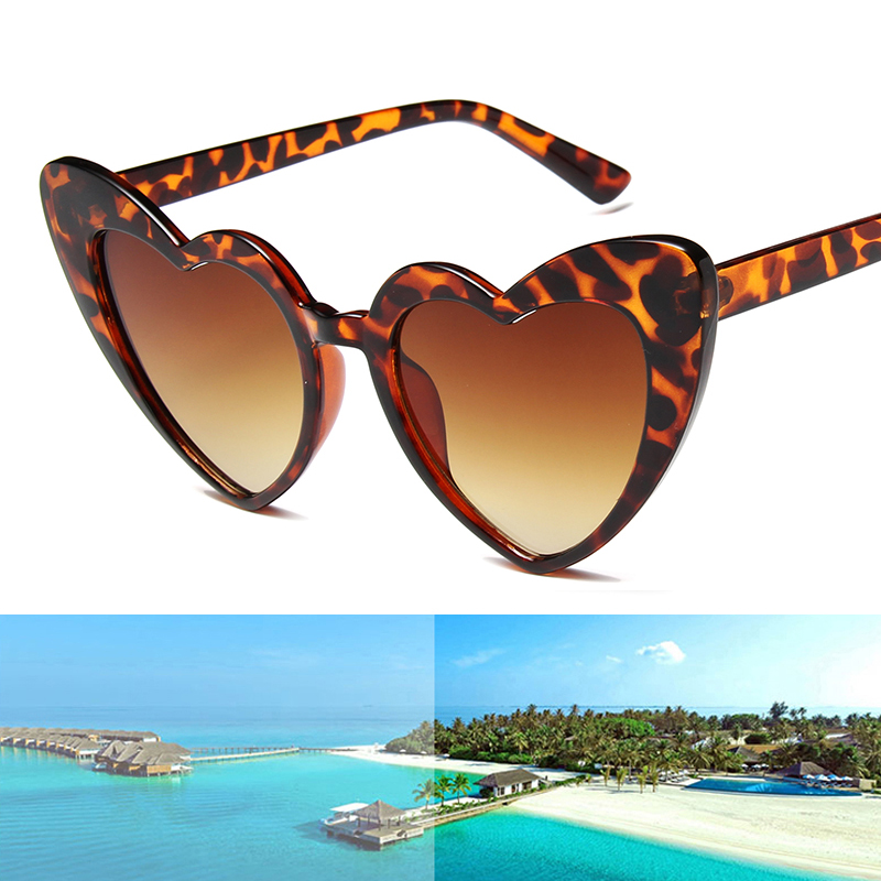 Women Love Heart Shaped Sunglasses Brand Designer Cat Eye Sun Glasses Retro Gradient Ladies Outdoor Travel Party Eyewear UV400