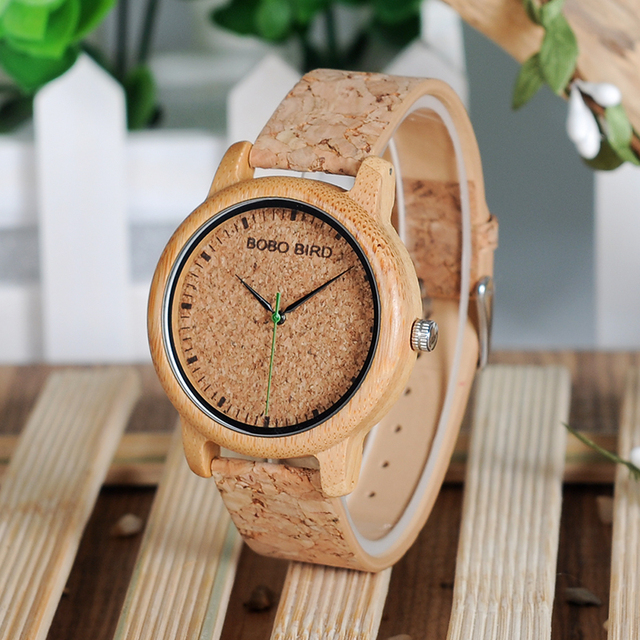 BOBO BIRD Lovers Watches Wooden Timepieces Handmade Cork Strap Bamboo Women Watch Luxury in Box Accept Logo Drop Shipping 4