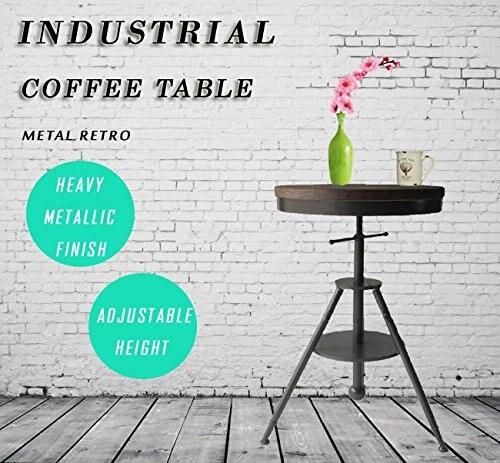 Table basse réglable en hauteur Table de Bar en bois ronde pivotante plateau en bois avec cadre en métal robuste Table de Pub Table à manger lourde