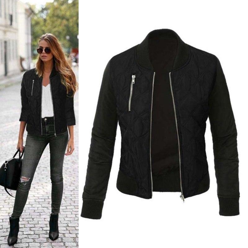 Herbst Frauen Grundlegende Mantel Casual Langarm Bomber Jacke Outwear Jacken Abrigos Mujer