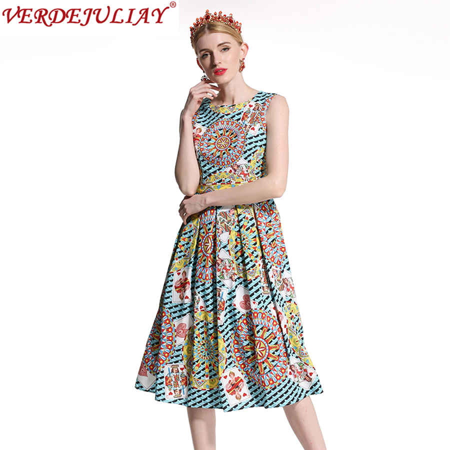 Vintage Dresses Summer Exquisite 2018 Sleeveless Fashion Luxury Poker Cards Print Vest New Colorful Hot Pleated Mid-Calf Dress