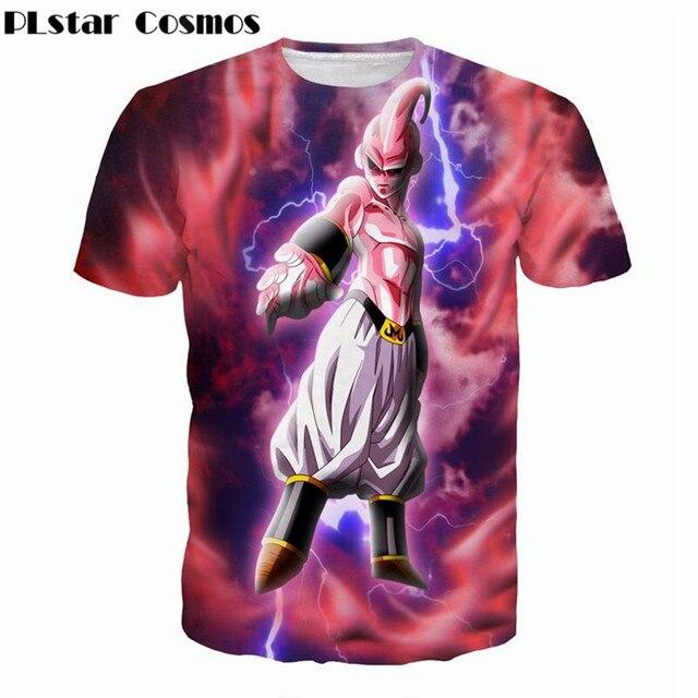 PLstar Cosmos 2017 summer New Tie Dye 3d T-Shirts Women Men Harajuku Tee Shirts Anime Dragon Ball Z Majin Buu print t shirt