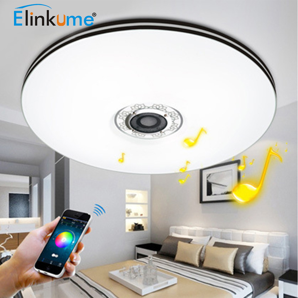 Deckenleuchte Led Bluetooth Us 76 4 55 Off Elinkume Bluetooth Mobile Phone Music Promise Dimming Led Ceiling Lights 32w Stufenloses Dimmen Rgb Led Deckenleuchte Home Lamp In