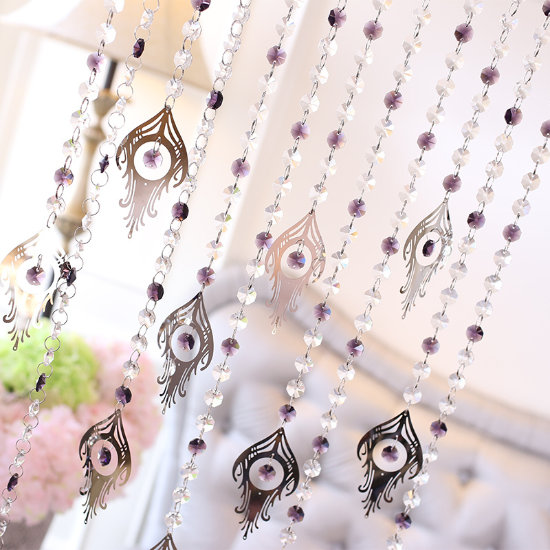 2015 Hot Sale Crystal Octagonal Beads Add Pteris Curtains