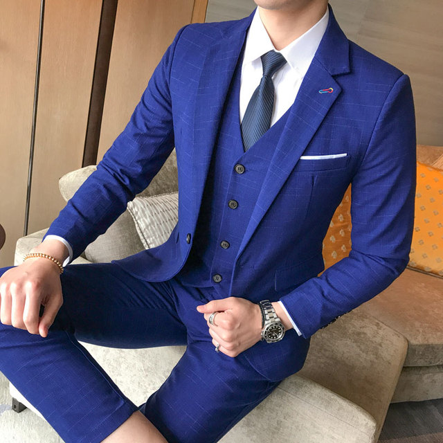 ( Jackets + Vest + Pants ) High-end Boutique Fashion Plaid Groom Formal Wedding Dress Suit Sets Three-piece Mens Business Suits