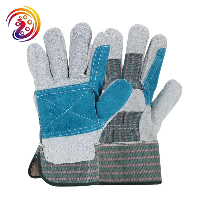 купить OLSON DEEPAK Cow Split Leather Factory Carrying Driving Gardening Welding Protective Work Gloves HY021 Free Shipping недорого